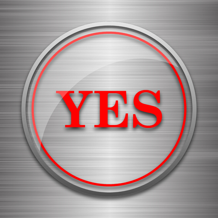 proceed: Yes icon. Internet button on metallic background. Stock Photo