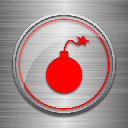 metallic: Bomb icon. Internet button on metallic background.