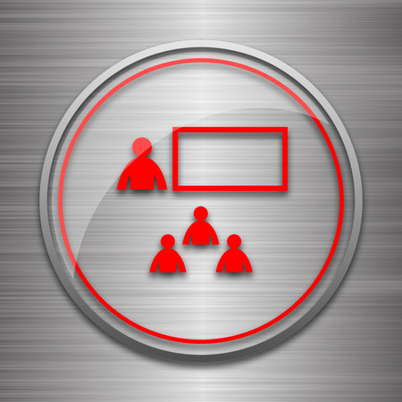 Presenting icon. Internet button on metallic background.