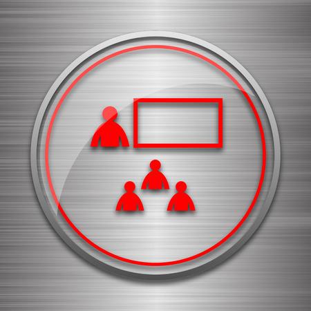 stage coach: Presenting icon. Internet button on metallic background.