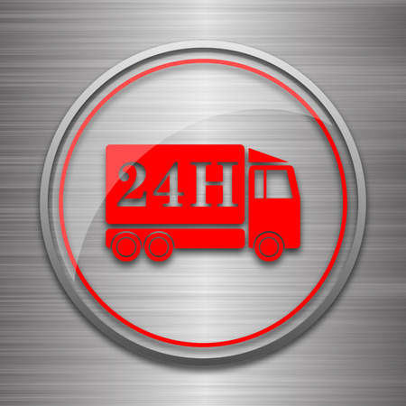 24h: 24H delivery truck icon. Internet button on metallic background.
