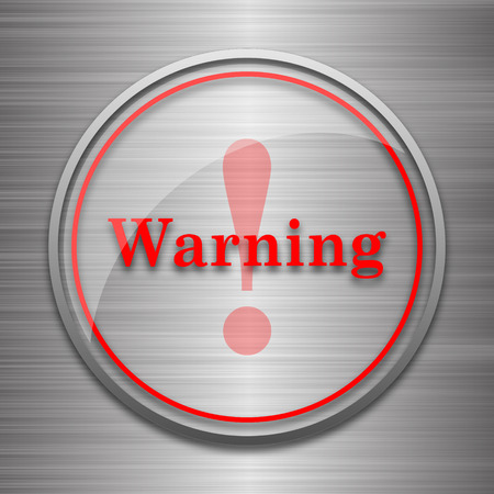 Warning icon. Internet button on metallic background.