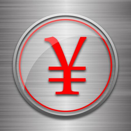 metallic: Yen icon. Internet button on metallic background.