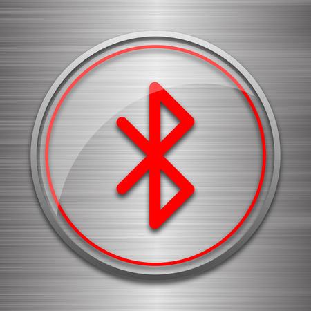 bluetooth: Bluetooth icon. Internet button on metallic background. Stock Photo