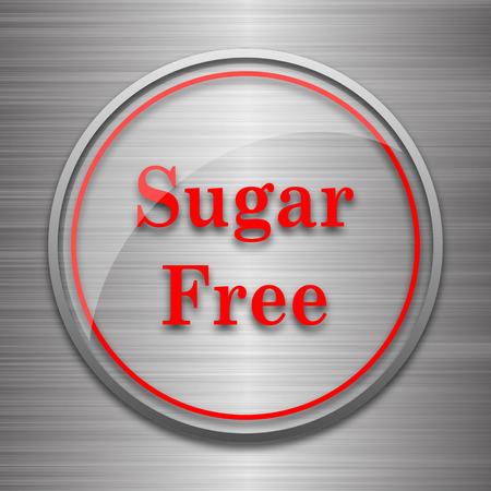 sweetener: Sugar free icon. Internet button on metallic background. Stock Photo
