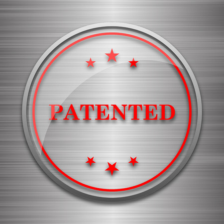 secured property: Patented icon. Internet button on metallic background.