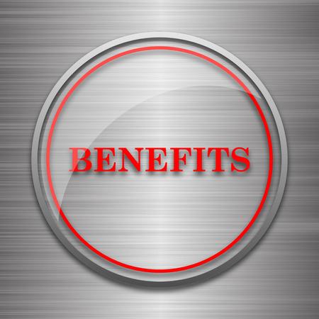 metallic: Benefits icon. Internet button on metallic background. Stock Photo