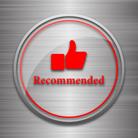 recommendations: Recommended icon. Internet button on metallic background.