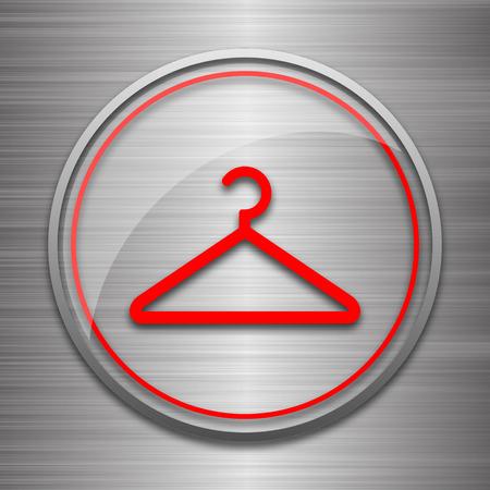metallic: Hanger icon. Internet button on metallic background.