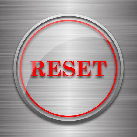 revamp: Reset icon. Internet button on metallic background. Stock Photo