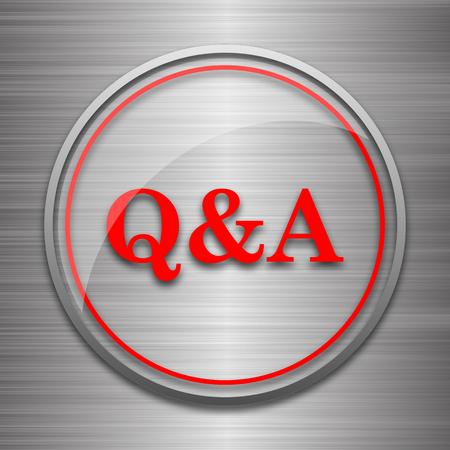 qa: Q&A icon. Internet button on metallic background.