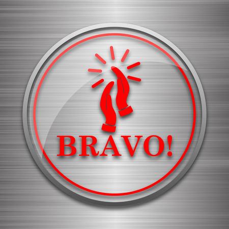 bravo: Bravo icon. Internet button on metallic background.