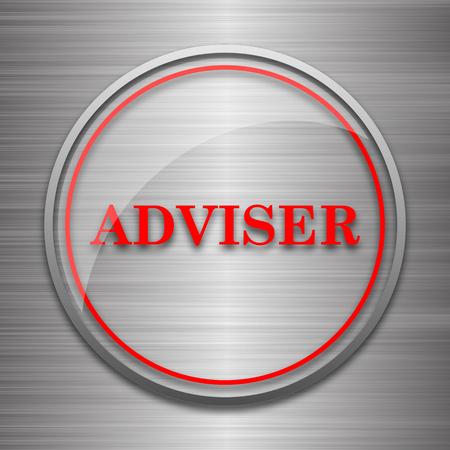adviser: Adviser icon. Internet button on metallic background. Stock Photo