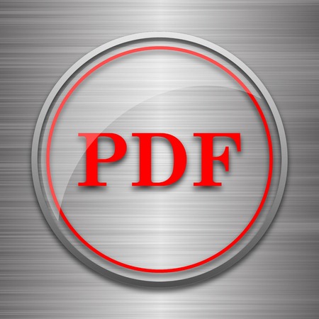 bibliography: PDF icon. Internet button on metallic background.