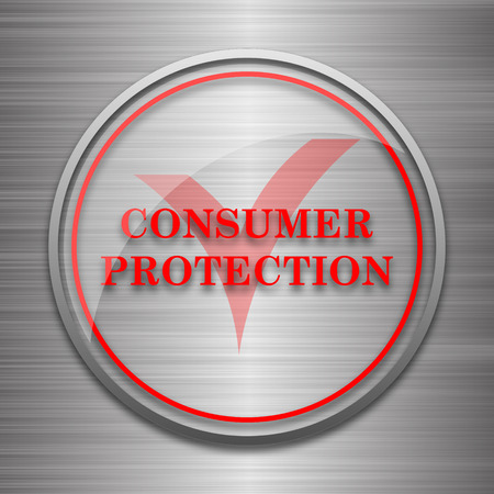 consumer protection: Consumer protection icon. Internet button on metallic background. Stock Photo