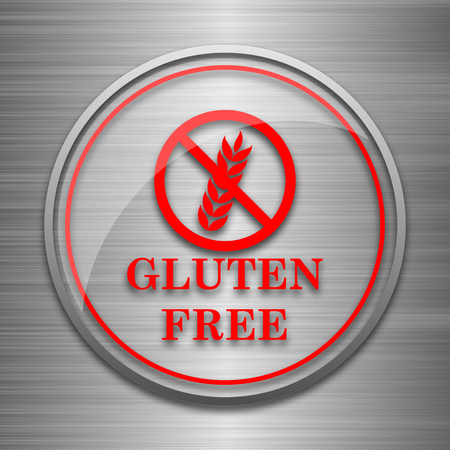 inspected: Gluten free icon. Internet button on metallic background.