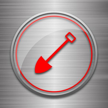 metallic: Shovel icon. Internet button on metallic background.
