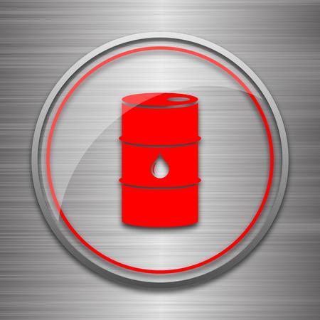 barrell: Oil barrel icon. Internet button on metallic background.