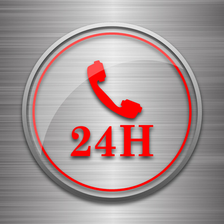 phone button: 24H phone icon. Internet button on metallic background.