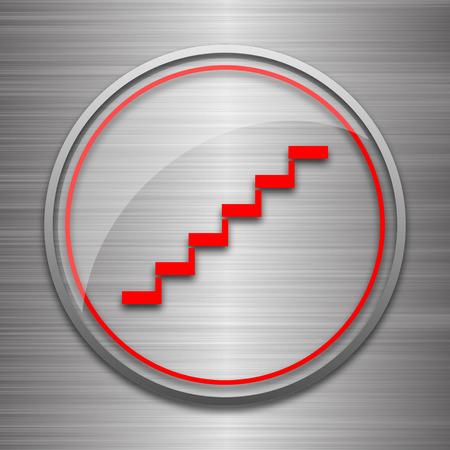 metallic stairs: Stairs icon. Internet button on metallic background.