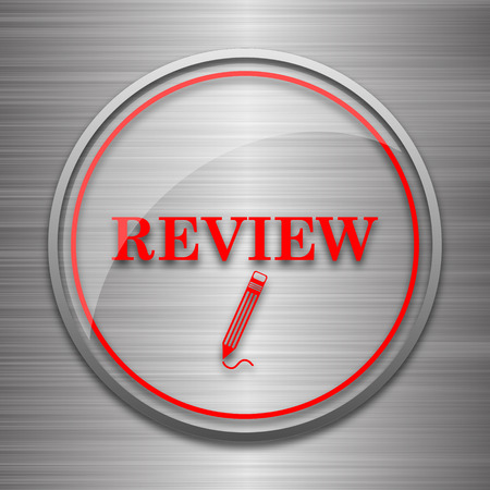 review icon: Review icon. Internet button on metallic background.