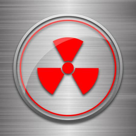 nuke: Radiation icon. Internet button on metallic background.