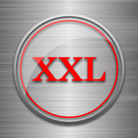 size specification: XXL  icon. Internet button on metallic background.