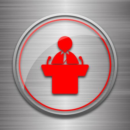 rostrum: Speaker icon. Internet button on metallic background.