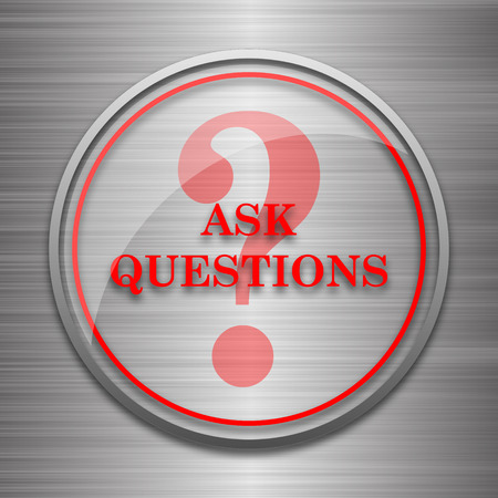 inquiry: Ask questions icon. Internet button on metallic background. Stock Photo