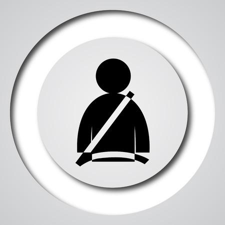 cinturon seguridad: Icono del cintur�n de seguridad. Bot�n de internet sobre fondo blanco.