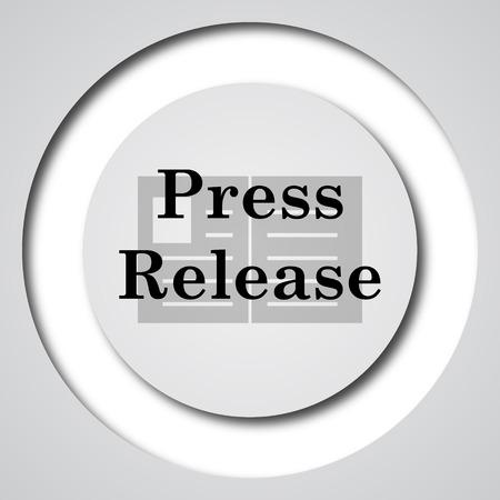Press release icon. Internet button on white background. Stock Photo