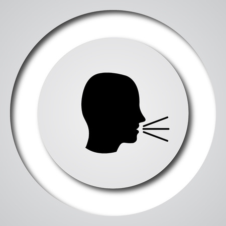 loudly: Talking icon. Internet button on white background.