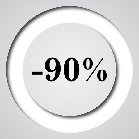 ninety: 90 percent discount icon. Internet button on white background.