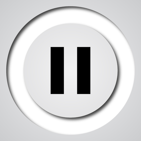 pause icon: Pause icon. Internet button on white background. Stock Photo