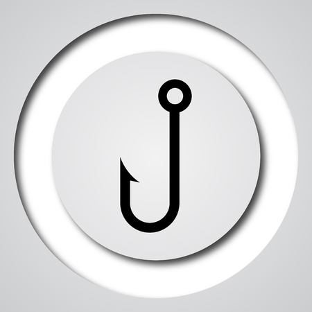 fish hook: Fish hook icon. Internet button on white background.