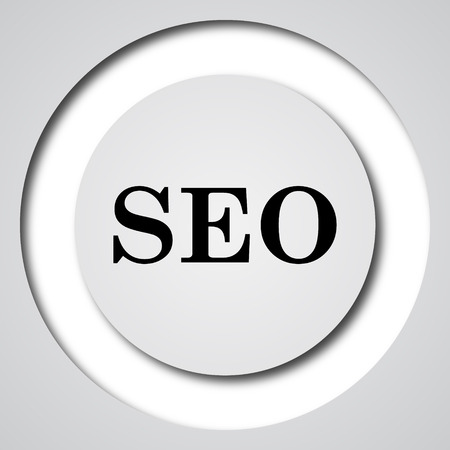 quest: SEO icon. Internet button on white background.