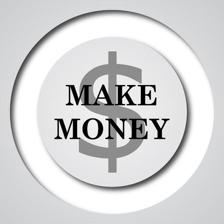 grow money: Make money icon. Internet button on white background.