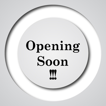 informing: Opening soon icon. Internet button on white background.