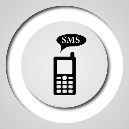sms: SMS icon. Internet button on white background.
