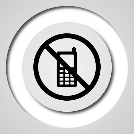 restricted: Mobile phone restricted icon. Internet button on white background.