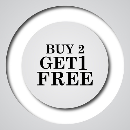 get in shape: Buy 2 get 1 free offer icon. Internet button on white background. Stock Photo