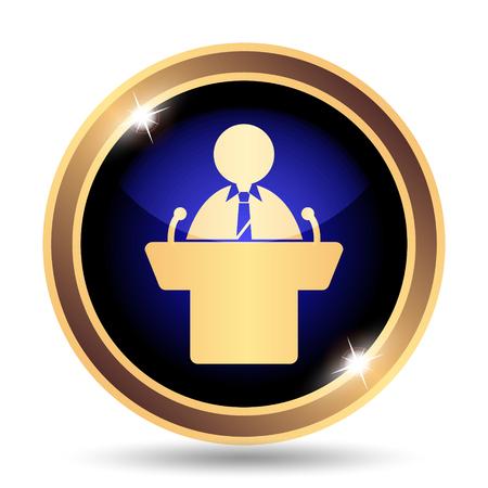 tribune: Speaker icon. Internet button on white background. Stock Photo