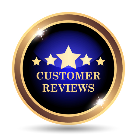 review icon: Customer reviews icon. Internet button on white background.