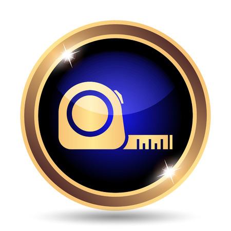 cintas metricas: Icono de la cinta métrica. Botón de internet sobre fondo blanco. Foto de archivo