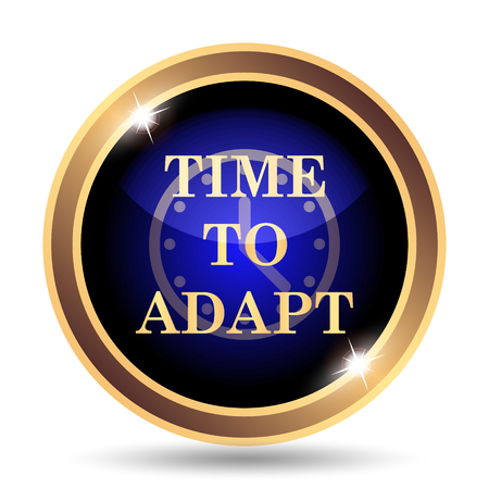 adapt: Time to adapt icon. Internet button on white background. Stock Photo