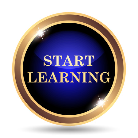 connexion: Start learning icon. Internet button on white background.