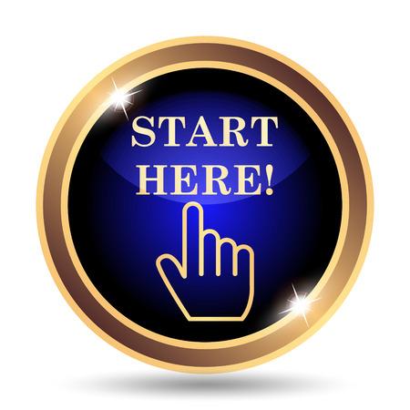 Start here icon. Internet button on white background.