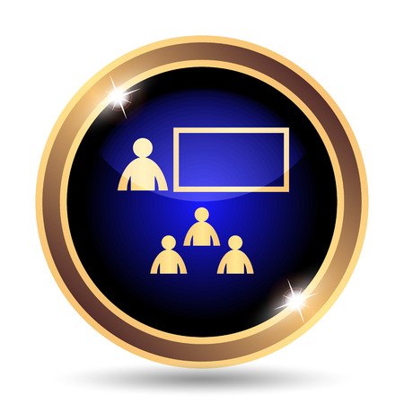 stage coach: Presenting icon. Internet button on white background.