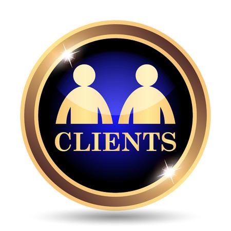Clients icon. Internet button on white background. Фото со стока