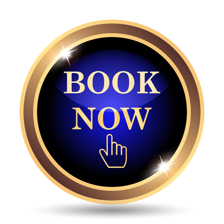 Book now icon. Internet button on white background. Stock Photo